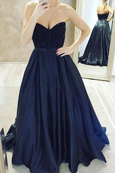 Sweetheart Jeweled Navy Satin Long Prom/Evening Dress Custom Made Online - FlosLuna