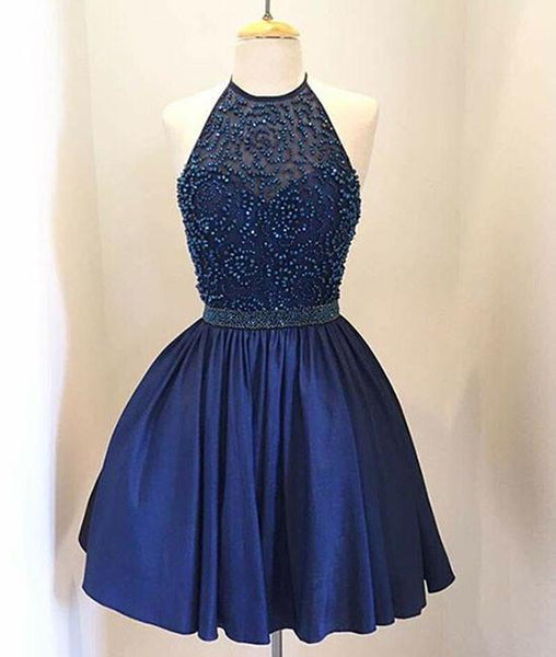 DARK BLUE BEADED SHORT PROM DRESS, ROYAL BLUE BEADED SHORT HOMECOMING DRESS - FlosLuna