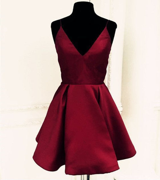 Dark Red Short Satin Prom Homecoming Dress,Burgundy Bridesmaid Dress,Short Cheap Burgundy Homecoming Dress Under 100 - FlosLuna