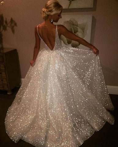 bfc83753632 Deep V Neck White Sparkly Prom Dress   Gowns