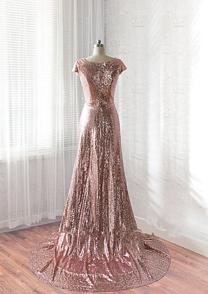 Deep V neck Rose Gold Sparkly Sequin Prom/Evening Dress,Shiny V neck Formal Evening Dress - FlosLuna
