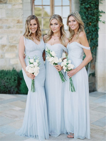 Dusty Blue Bridesmaid Dress Off Shoulder Mismatched Bridesmaid Dresses Long Chiffon Prom Dress Blue - FlosLuna