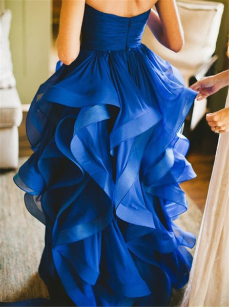 Asymmertrical Organza Ruffle Wedding Dress with Ruffles on Bottom High Low Prom Dress Sweetheart Colored Wedding Dress Evening Dress Online - FlosLuna