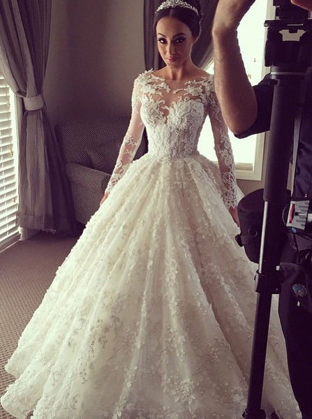 Elegant Ball Gown Lace Wedding Dress with Long Illusion Sleeves - FlosLuna
