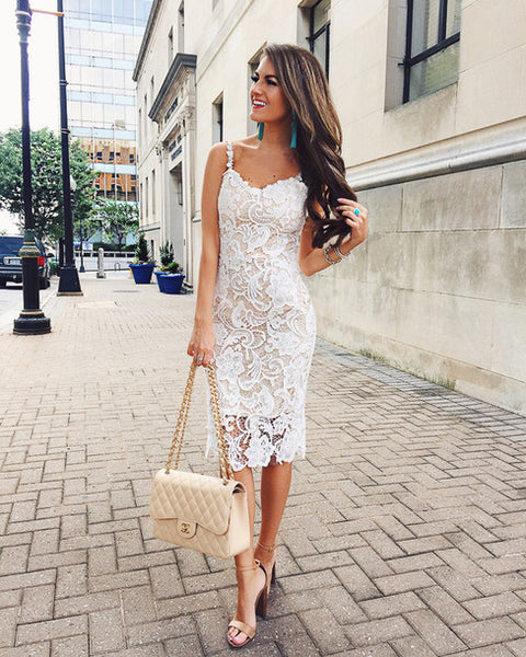 52c23ad80bd Elegant Lace Pencil Dress Tight Tea Length Lace Bridesmaid Prom Homecoming  Dress Ivory Lace Party Dress