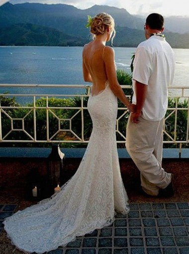 Mermaid Backless White Wedding Dress With Spaghetti Straps Sweep Train Under 200