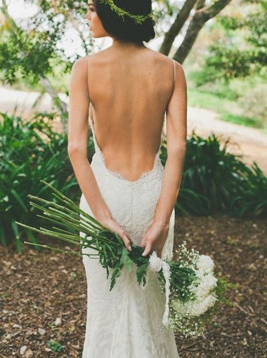 Mermaid Backless White Wedding Dress with Spaghetti Straps Sweep Train Under 200 - FlosLuna