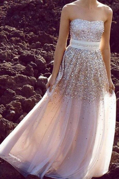 Floor-length Sequin Tulle Prom Dress with Sweetheart Neckline Gold Sequin Prom Dress,Gold Evening Dress,Bridesmaid Dress - FlosLuna