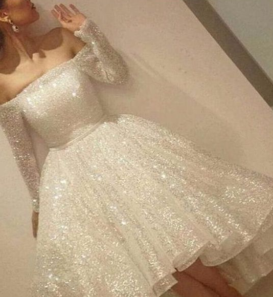 d7be22d610b75 This item: Long Sleeve Sparky White Homecoming Dresses, White Long Sleeve  Homecoming Dresses,