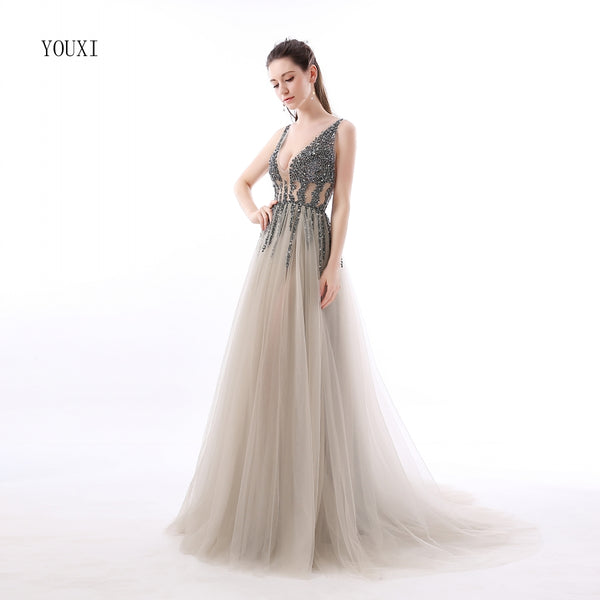 Long Tulle Grey Dress Prom Beaded Top Deep V neck Evening Gowns Sexy Jeweled Tulle Prom Dress - FlosLuna
