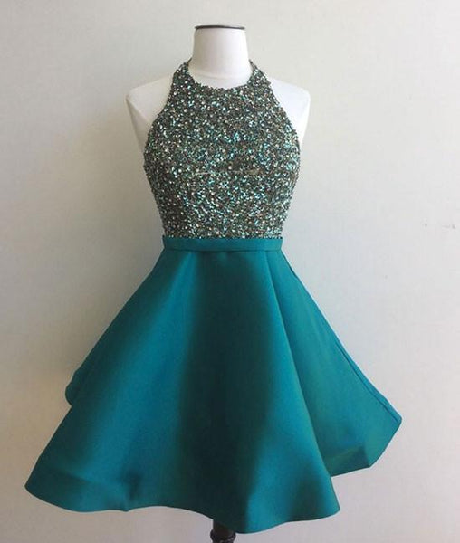 Halter Open Back Beaded Aqua Short Prom/Party Dress,Mini Tiffany Homecoming Dress Beaded Top - FlosLuna