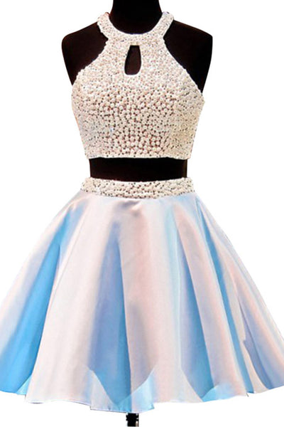 Hot-selling Short Open Back Jewel Sleeveless Homecoming Dess with Pearls - FlosLuna