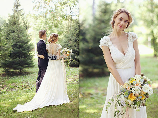 Simple Wedding Dresses With Lace Sleeves: Illusion Lace Back Wedding Dress