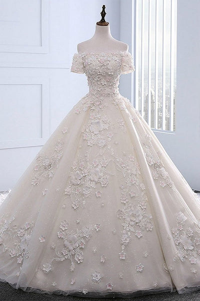 Ivory strapless sweep train off shoulder lace floral wedding dress with sleeves - FlosLuna