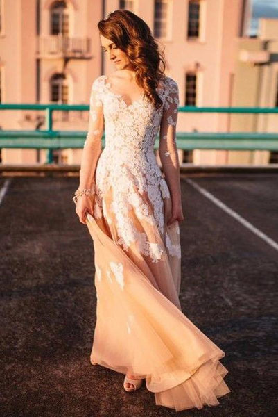 Lace A-line Long Sleeves Tulle Simple Cheap Long Wedding Dresses with sleeves,Prom Dress - FlosLuna