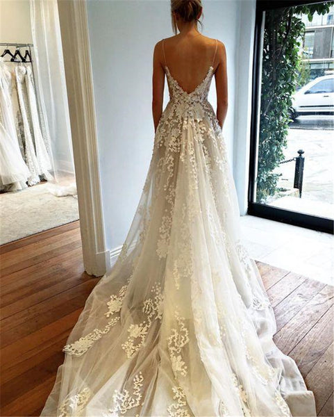Lace Applique V Neck Gown Prom Dress White Lace Formal Evening Gowns Spaghetti Straps Lace Beach Wedding Dress - FlosLuna