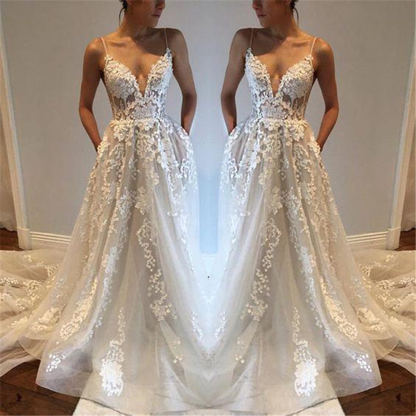Wedding Gown With Lace: Spaghetti Straps Lace Beach Wedding Dress