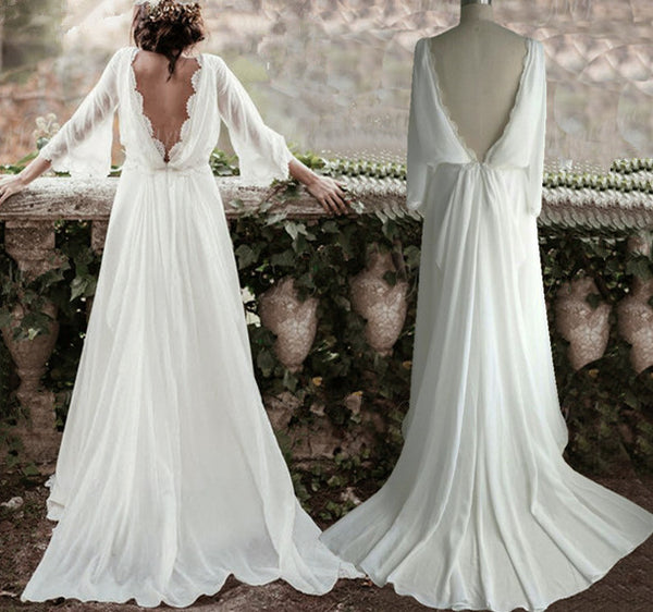 Backless Wedding Gowns For Sale: Long Sleeve Lace Boho Backless Wedding Dress
