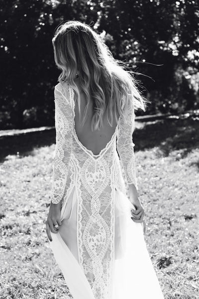 Lace Bohemian Wedding Dresses French Lace Long Sleeve Boho Chic Dress Open Back Bridal Gowns vestido de noiva 2017 - FlosLuna