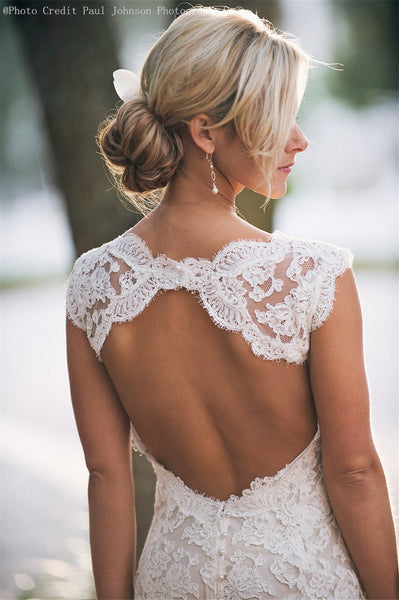 Lace Wedding Dress,Keyhole Back Sexy Mermaid Wedding Gowns,Custom Mermaid Bridal Gowns,Ivory Lace Wedding Gowns,Backless Wedding Dress,V neck Two Strap Wedding Dress - FlosLuna