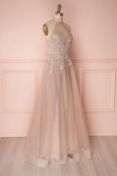 Fashion A-Line High Neck Sleeveless Long Backless Prom/Evening Dress With Appliques - FlosLuna