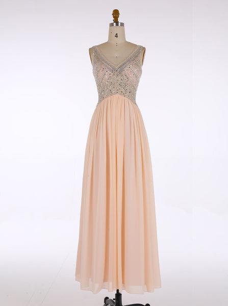 Hot Selling A-line V-neck Floor-Length Chiffon Long Blush Bridesmaid Dress Beaded Blush Pink Evening/Prom/Homecoming Dress - FlosLuna