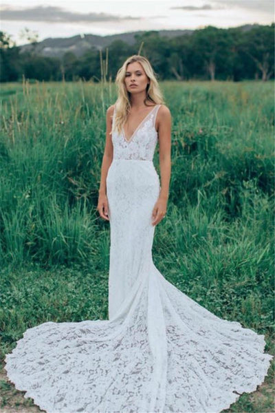 Long Mermaid Wedding Dress with Sleeves,Two Straps Lace Mermaid Wedding Gown,Deep V Neck Lace Wedding Dress UK,Blush Wedding Dress - FlosLuna