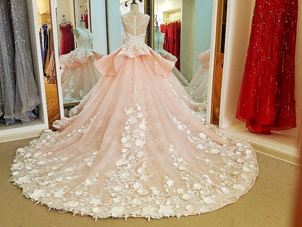 Luxury Ball Gown Wedding Dresses Online Princess Sweetheart Pink Prom Evening Dress Handmade Made Flowers Court Train Bridal Gowns - FlosLuna