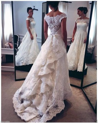 Luxury Lace Wedding Dress with Cap Sleeve,Inexpensive Ivory Lace Wedding Dress with Tail - FlosLuna