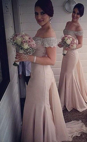 Off Shoulder Champagne Mermaid Bridesmaid Dress,Beaded Prom Dress,Formal Evening Dress,Mermaid Bridesmaid Dress,Custom Sexy Prom/Evening Dress,Bridesmaid Dresses - FlosLuna