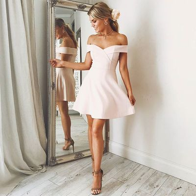 Off the Shoulder Pearl Pink Short Homecoming Dress,Pretty Short Satin Prom Bridesmaid Homecoming Dress - FlosLuna