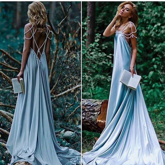 Pearl Beaded Backless Sexy Prom Evening Dress,Dusty Blue Holiday Dress, Open Back Bridesmaid Dress - FlosLuna