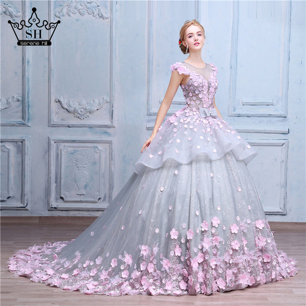 Wedding Dresses With Pink Flowers: Luxury Ball Gown Flower Wedding Dress Online, Luxury Prom