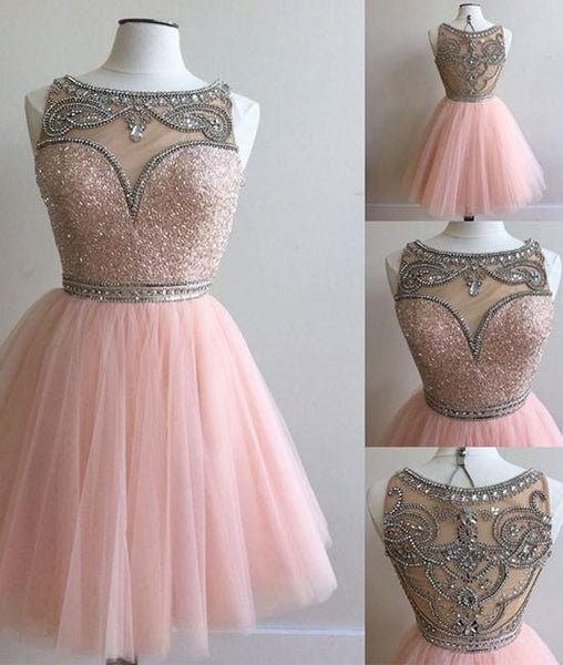 PINK ROUND NECK SEQUIN TULLE SHORT PROM DRESS, CUTE HOMECOMING DRESS - FlosLuna