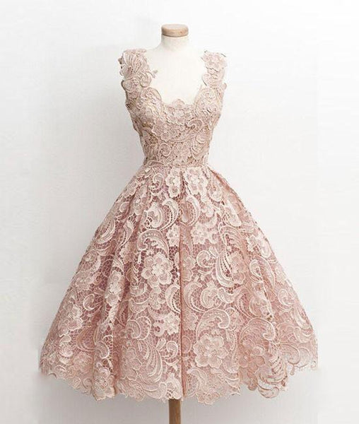Pink V Neck Lace Short Prom Dress,Blush Lace Bridesmaid/Homecoming Dress - FlosLuna