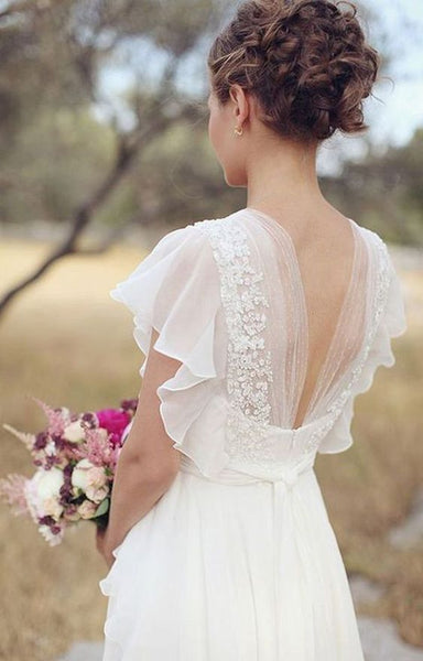 Cheap Plus Size Chiffon Country Wedding Dresses Lace Flowers V Neck Back Sheer Summer Bridal Gowns - FlosLuna