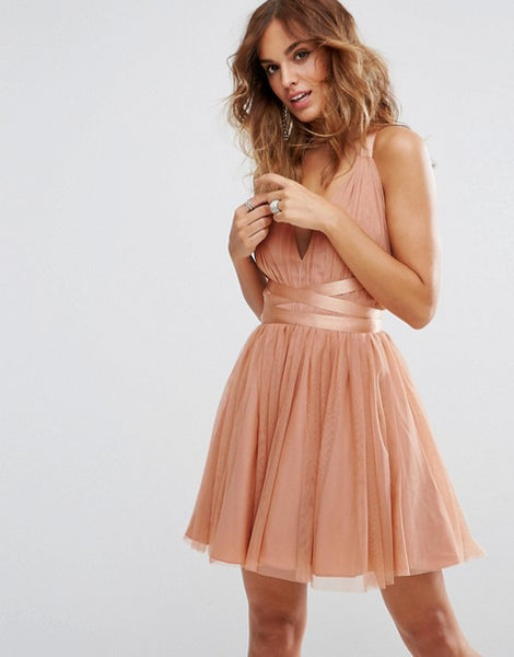Pretty Short Peach Tulle Prom/Homecoming Dress,Backless Fashion Tulle Prom Homecoming Bridesmaid Dress with Ribbon - FlosLuna