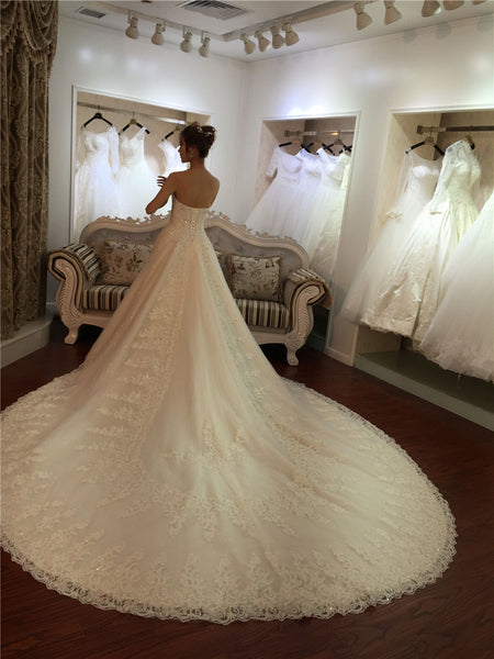 Princess Sweetheart A-line Wedding Dress with Fitted Bodice Beaded Top Lace Train Bridal Gown - FlosLuna