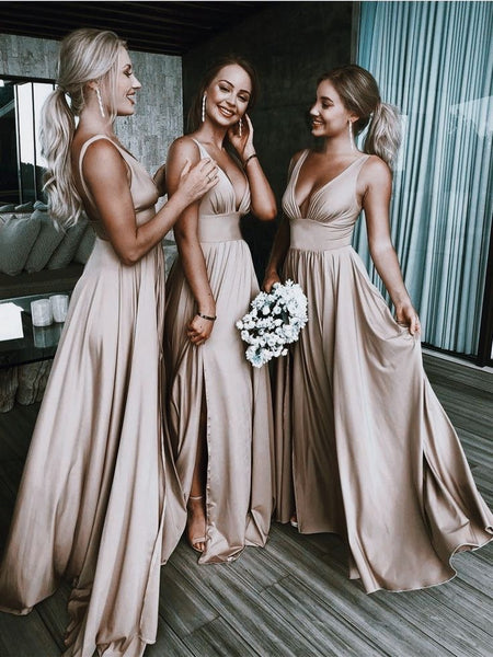 2020 bridesmaid dress ,dusty pink bridesmaid dresses,split dress - FlosLuna