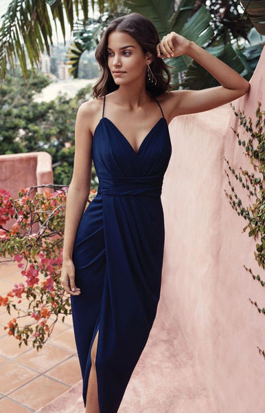 Navy blue spaghetti bridesmaid dress,v neck dresses,slpit prom dress,rustic dresses ,dresses 2020 - FlosLuna