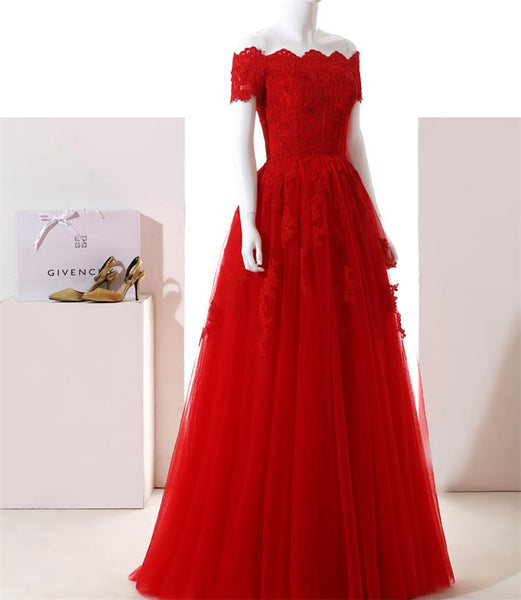 Off Shoulder Red Lace Prom/Evening Dress with Half Sleeve,Lace Up Evening Formal Dress with Lace Applique - FlosLuna