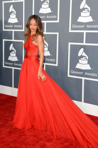 Rihanna Grammys Red Carpet Criss-cross Celebrity Evening Prom Dress,Red Chiffon Maxi Prom/Evening Dress - FlosLuna