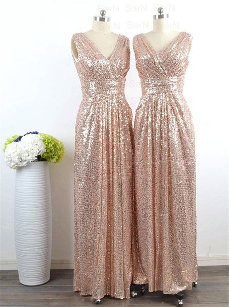 Rose Gold Prom Dress,Sequin Maxi Dress,Sequin Prom Evening Dress,V Neck Two Straps Prom Bridesmaid Dress,Sparkly Wedding Gown - FlosLuna