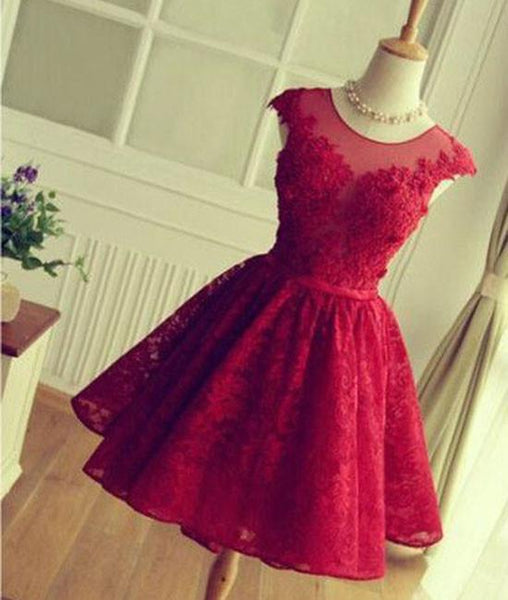SIMPLE OPEN BACK ROUND NECK LACE SHORT RED PROM/HOMECOMING DRESS, SHORT LACE BRIDESMAID DRESS - FlosLuna