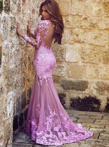 Sexy Mermaid Long Sleeve Round Neck Lace Applique Prom Formal Evening Dress Open Back Formal Gowns - FlosLuna