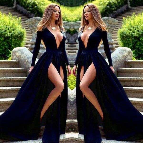 Sexy Long Sleeve Prom Dress A-line Deep V-neck Side Slit Long Prom Gowns Party Dress - FlosLuna