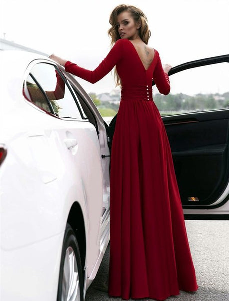 797db96ca65 Sexy Red Prom Dress V-neck Long Sleeves Prom Dresses Chiffon Evening Dress  Formal Dress