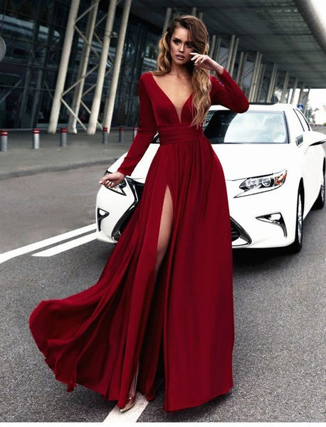 Sexy Red Prom Dress V-neck Long Sleeves Prom Dresses Chiffon Evening Dress Formal Dress - FlosLuna