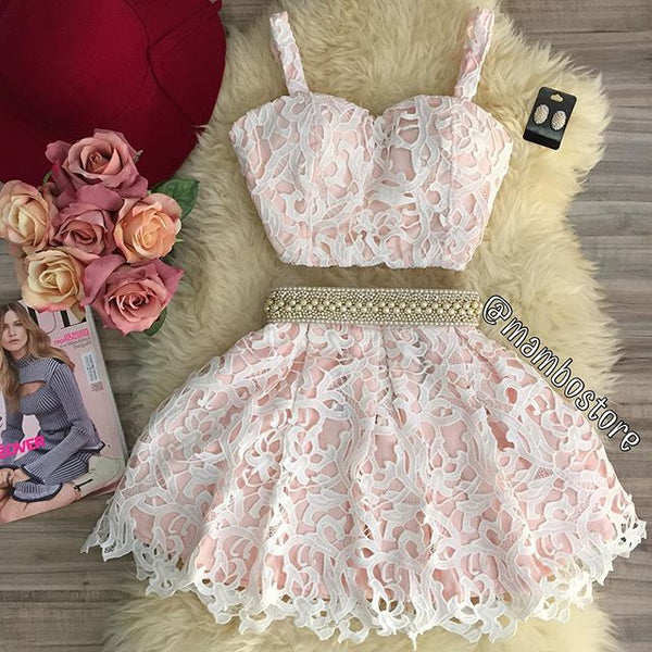 Sexy Two Piece Sweetheart Mini Pink Lace Homecoming Dress with Pearls - FlosLuna