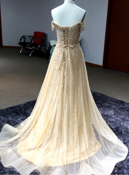 Shinny Off Shoulder Gold Evening/Prom Dress ,Floor Long Sparkly Prom Dress,Long Prom/Evening Dress New Fashion - FlosLuna